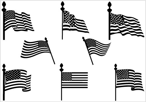 American flags Silhouette Clip Art Pack TemplateSilhouette Clip.