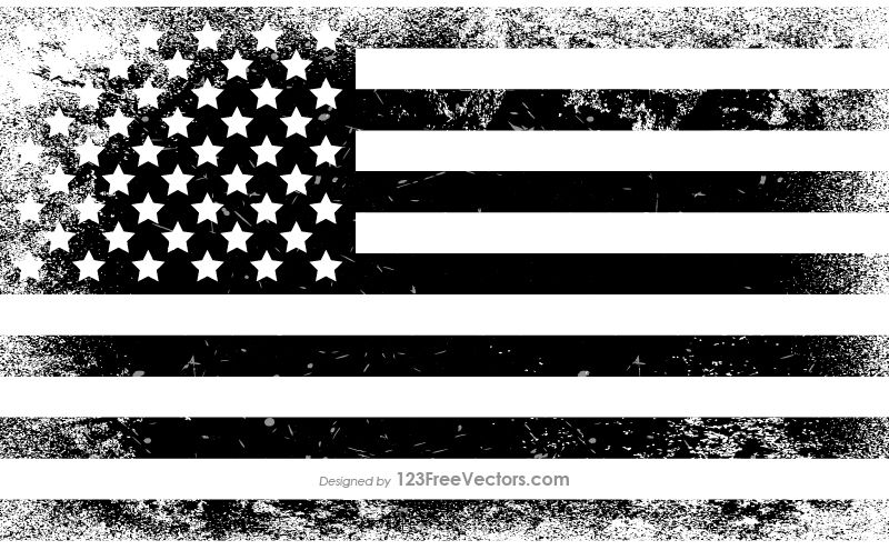 Black and White Distressed American Flag in 2019.