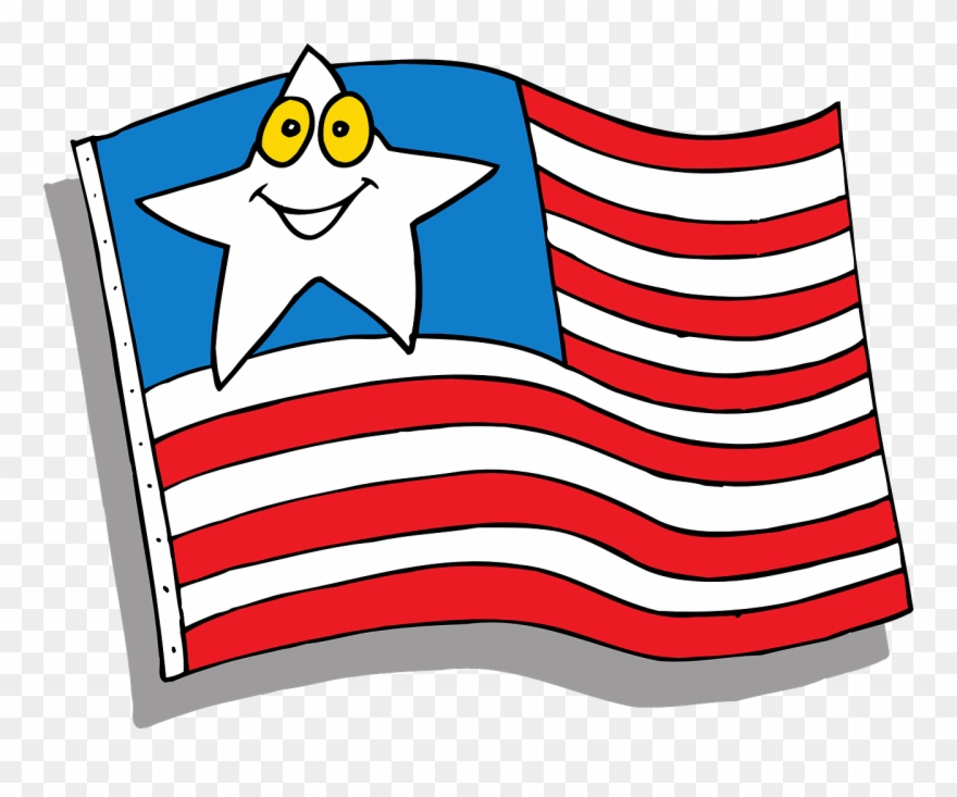 Cartoon American Flag Flag Star Face Cartoon American.