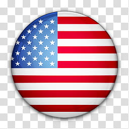 World Flag Icons, round USA flag art transparent background.