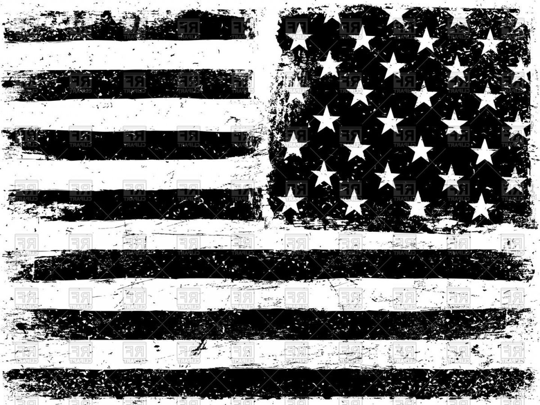 Grunge Style Usa Flag Vector Clipart.