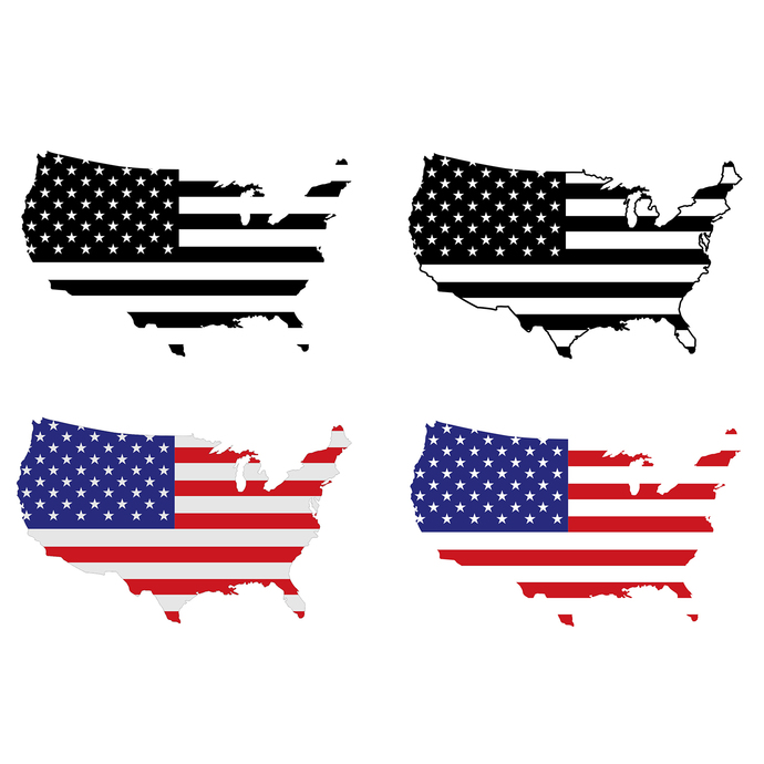 American Flag Usa Logo Map Design SVG DXF EPS Png Cdr Ai Pdf Vector Art,  Clipart instant download Digital Cut Files, Wall decal, Vinyl.