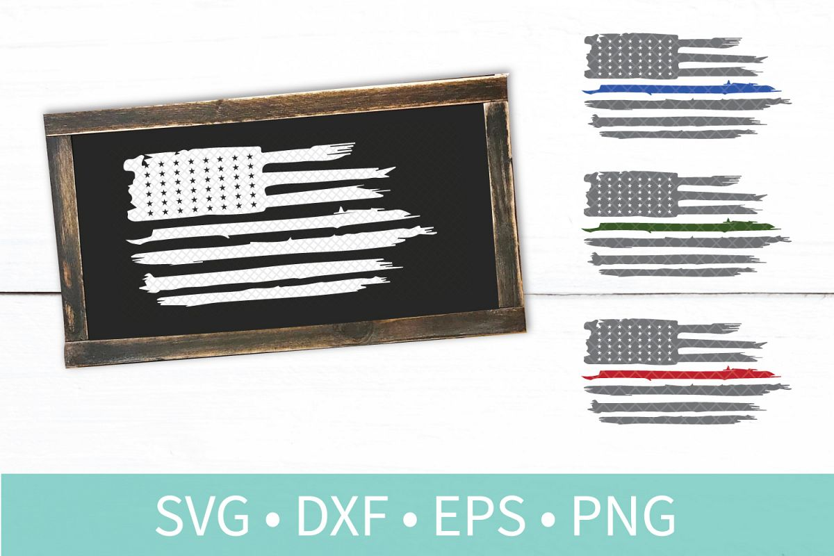 American Flag Distressed SVG DXF EPS PNG Clipart Vector File.