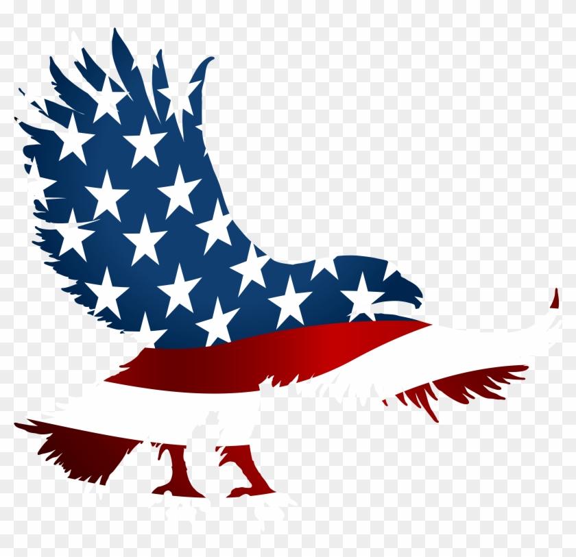 Eagle American Flag Clip Art, HD Png Download.
