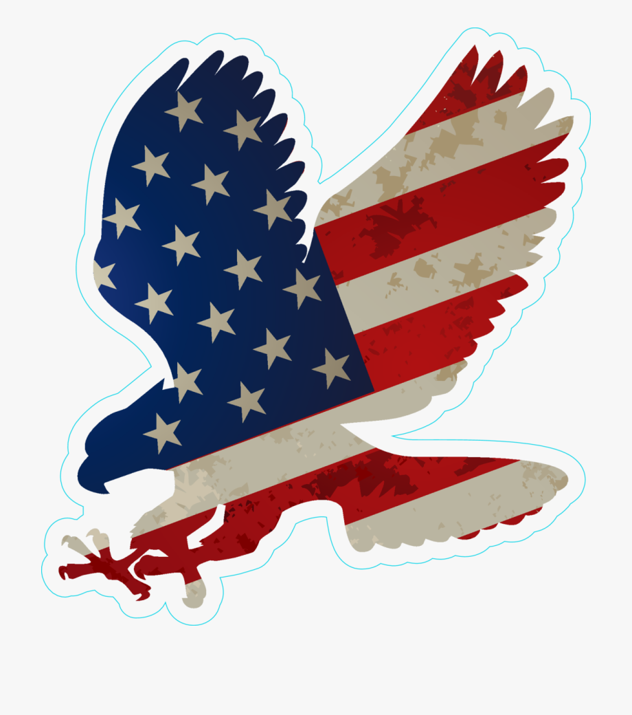 Eagle With Us Flag On Wings Sticker Bumper Sticker.