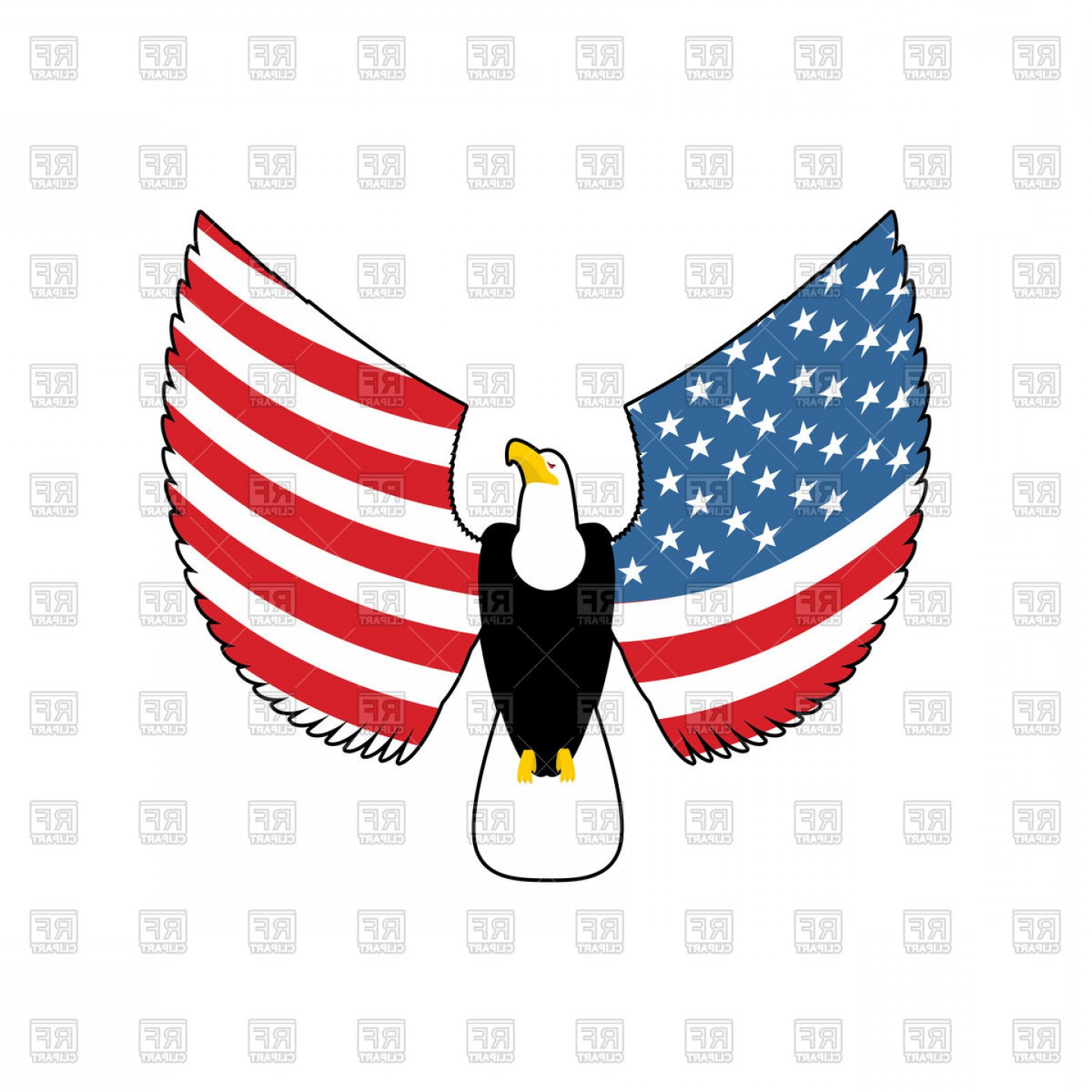Eagle With American Flag Wings Vector Clipart.