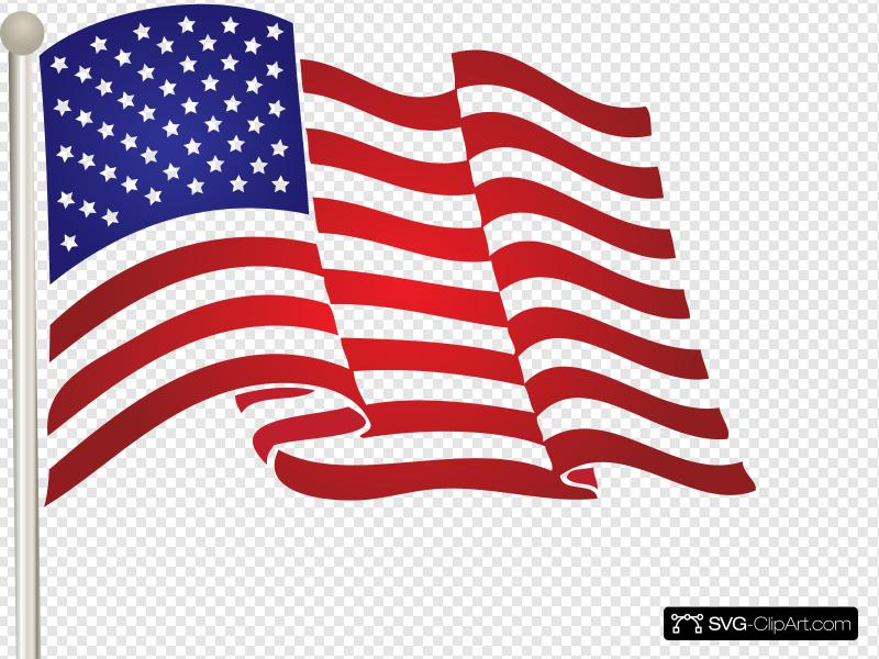 Waving Us Flag Clip art, Icon and SVG.