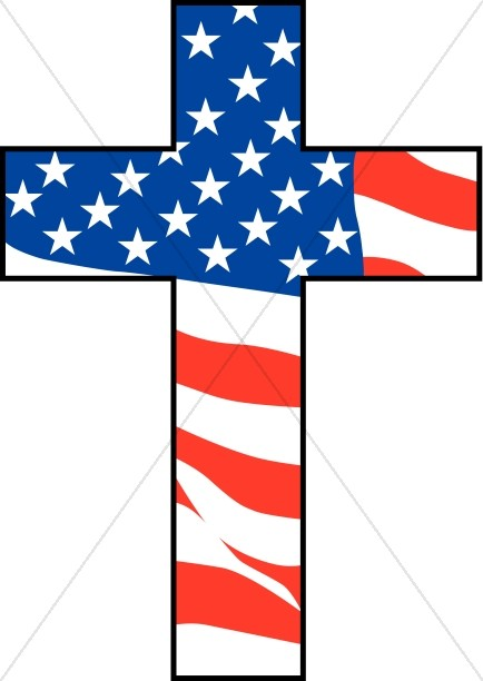 Cross with American Flag.