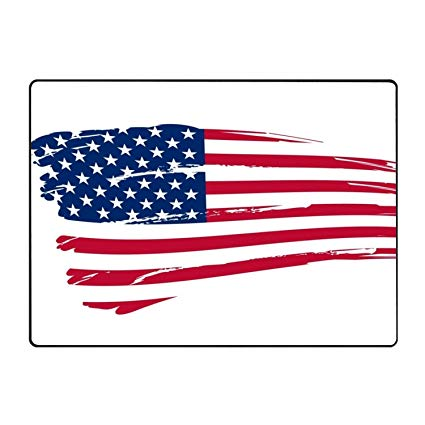 Amazon.com : buygohome Clipart American Flag Area Rug Soft.