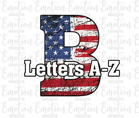 USA patriotic letters A to Z Clip Art, American flag.
