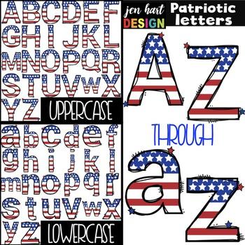 Letter Clipart Uppercase & Lowercase {America}.