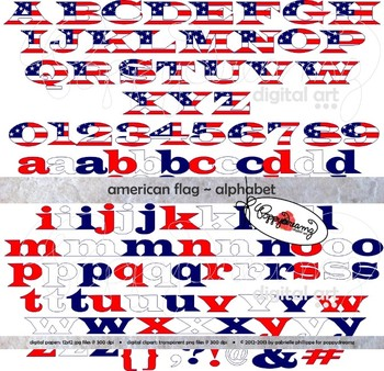 American Flag Alphabet and Numbers Clipart by Poppydreamz.