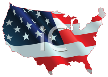 An design of American flag map.