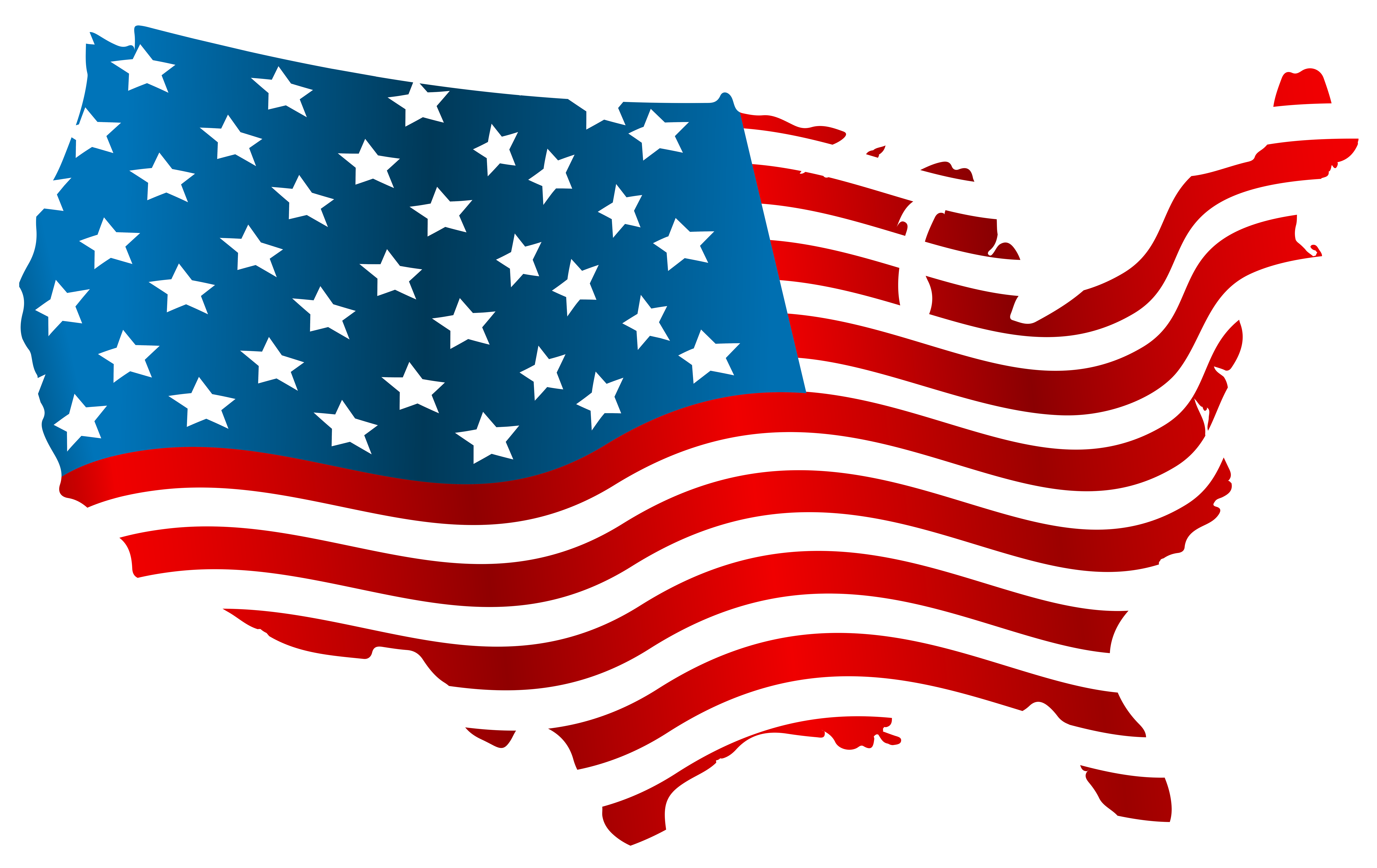 USA Flag Map PNG Clip Art Image.