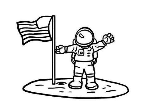 Astronaut, : An Astronaut Put American Flag on the Moon Soil.