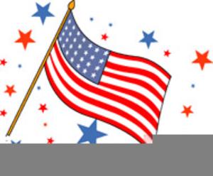 Us Flag On Pole Clipart.
