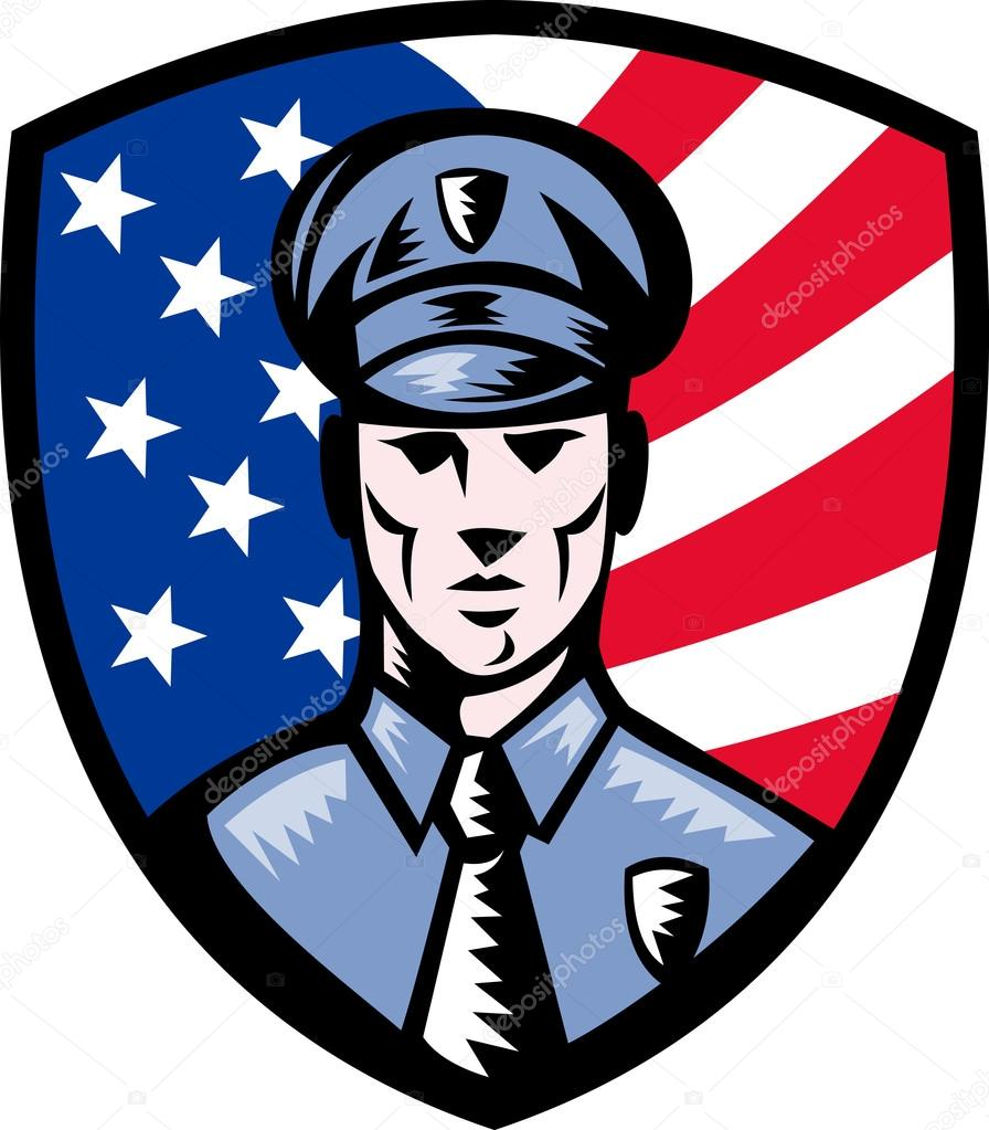 Policeman Police Officer American flag shield — Stock Photo.