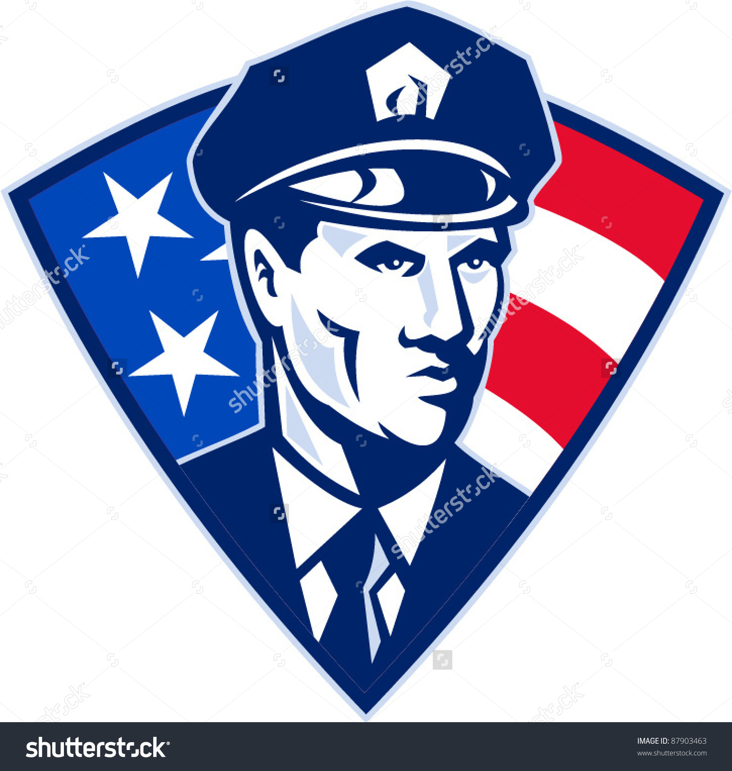 Vector Illustration Of An American Policeman Police Officer.