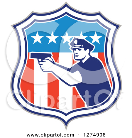 Clipart of a Retro Male Police Officer Aiming a Firearm in an.