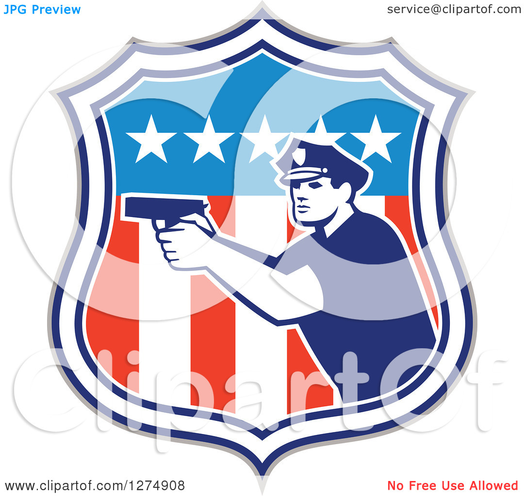 American Flag On Police Clipart.