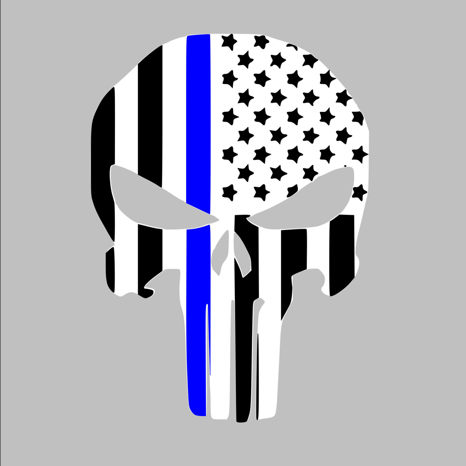 Police American Flag Black And Grey Clipart.