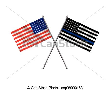 Clip Art Vector of American Flag and Police Support Flag.