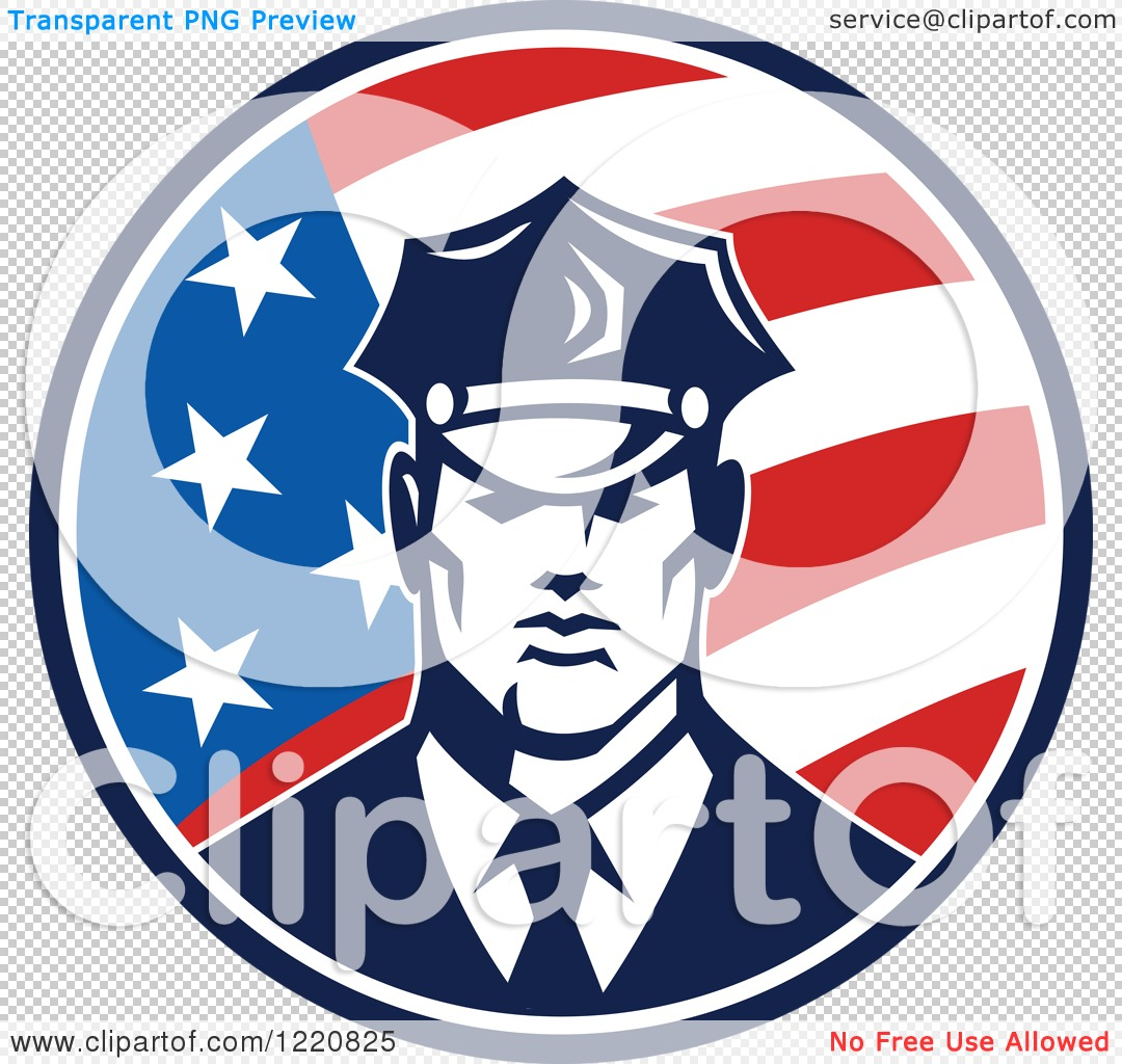 Clipart of a Retro Police Man in an American Flag Circle.