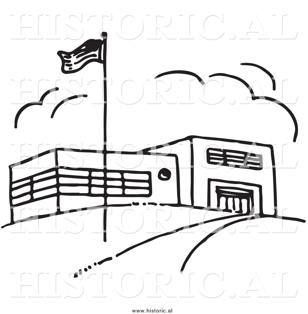 Clipart of an American Flag Beside School Building.