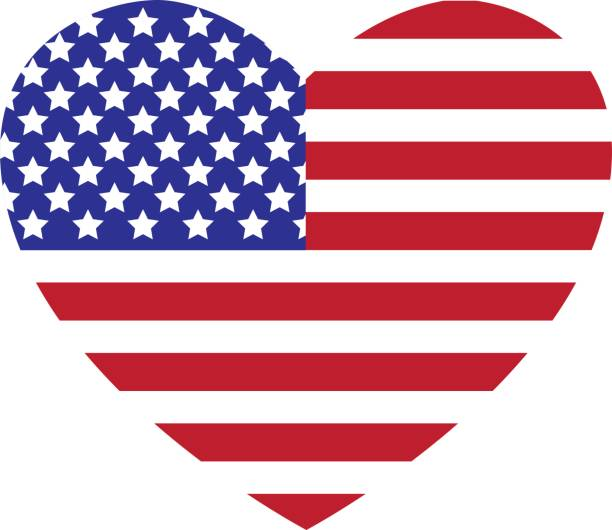 Best American Flag Heart Illustrations, Royalty.