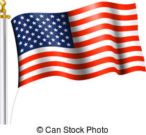 American Flag On A Pole Clipart.