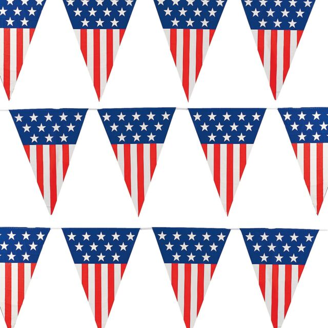 Extra Large American Flag Pennant Banner 24feet/12 Flags.