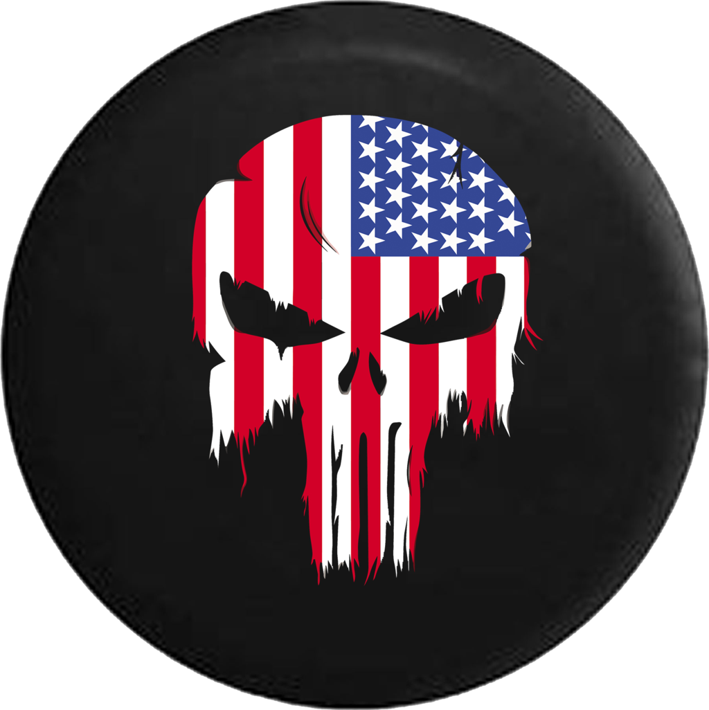 Tattered American Flag Punisher Skull Rv Camper Spare.