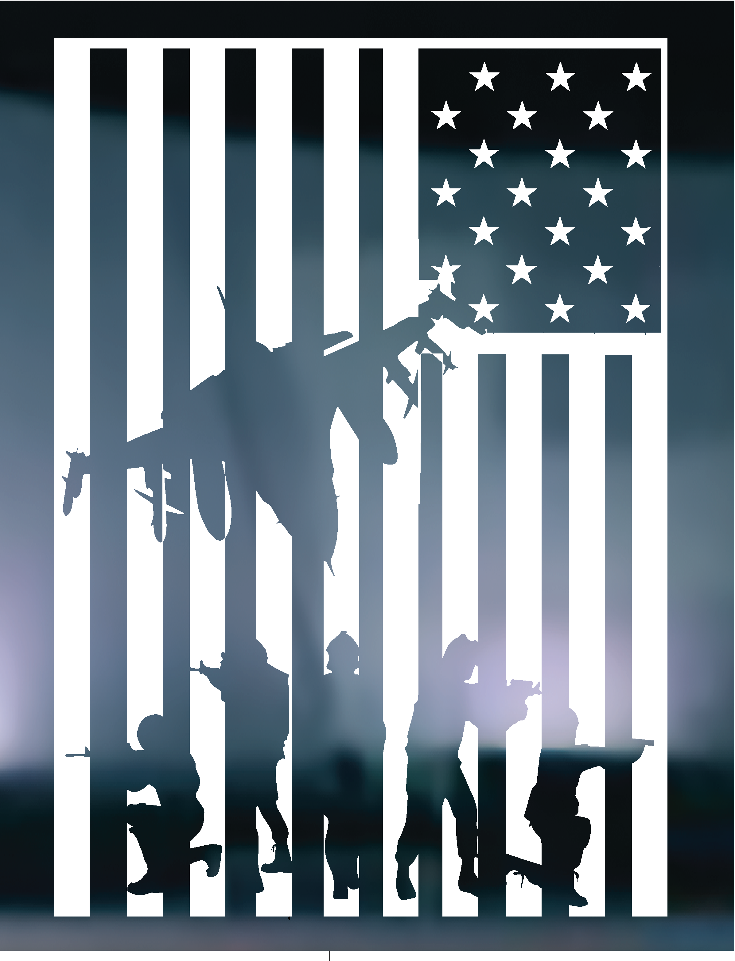 American Flag Soldiers Vinyl Graphic Decal.