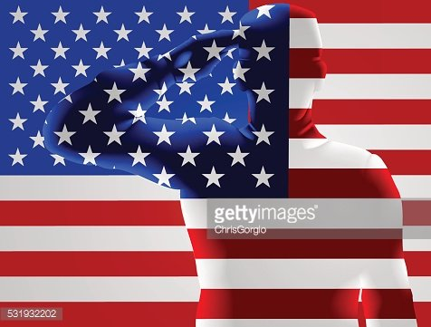 Veterans Day American Flag Soldier Saluting Clipart Image.