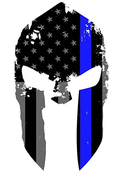 K9King Tattered Spartan Helmet US Flag Subdued Molon Labe Reflective Decal  with Thin Blue Line.
