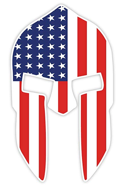 Amazon.com: 300 Spartan Helmet US flag sticker decal 3\