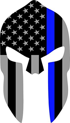 Subdued US Flag Spartan Helmet Reflective Decal with Thin Blue Line  (6\