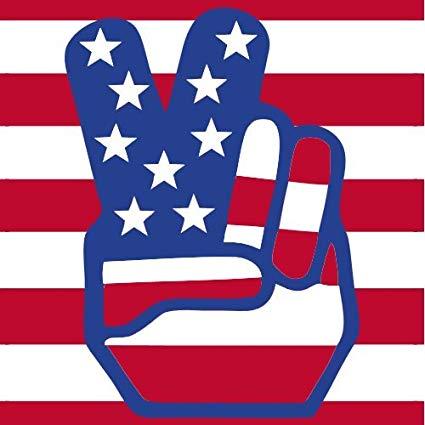 Amazon.com: U.S. Custom Stickers American Flag Peace Hands.
