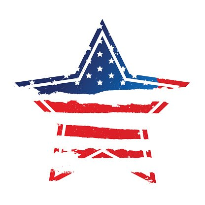 American flag in the shape of a star Clipart Image.