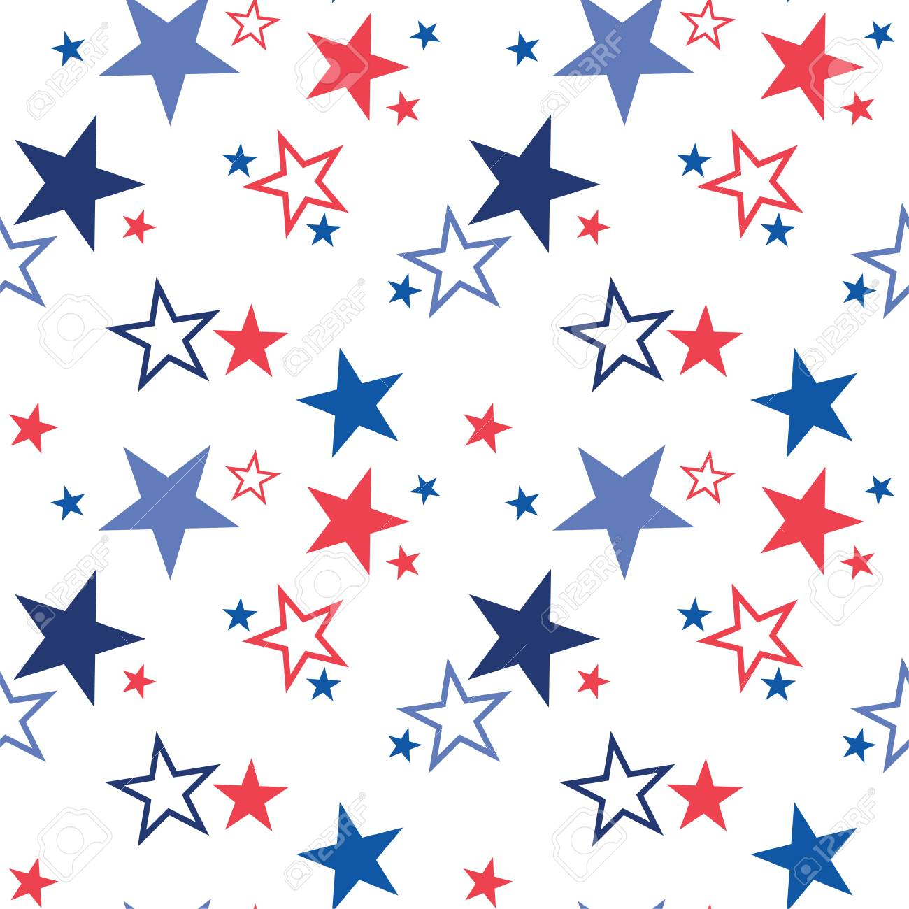 Vector seamless pattern with patriotic stars. National colors...