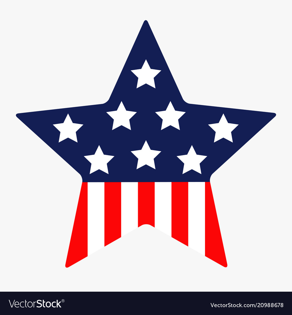 Star shape american flag stars and strips icon.