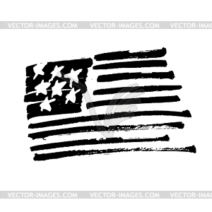 American flag Stars and stripes monochrome.
