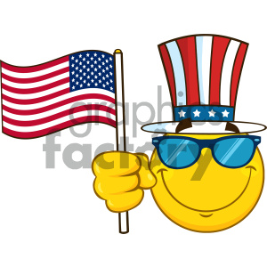 Smiling Yellow Cartoon Emoji Face Character With Sunglasses Wearing A Top  Hat And Waving An American Flag clipart. Royalty.