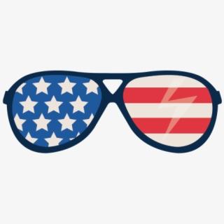 Printed Vinyl Usa Flag Glasses.