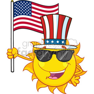 cute sun cartoon mascot character with sunglasses and patriotic hat holding  an american flag vector illustration isolated on white background clipart..