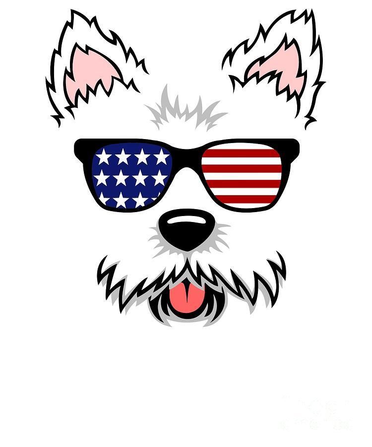 Cute Westie Design With American Flag Sunglasses Gift Idea.