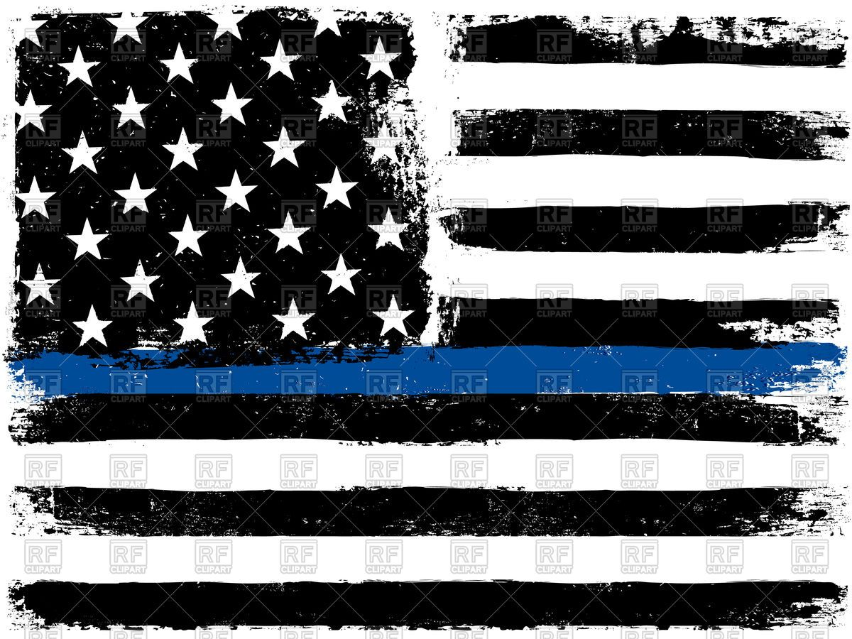American Flag with Thin Blue Line Stock Vector Image.