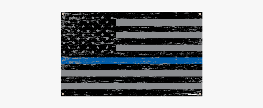 Textured Thin Blue Line American Flag Banner.