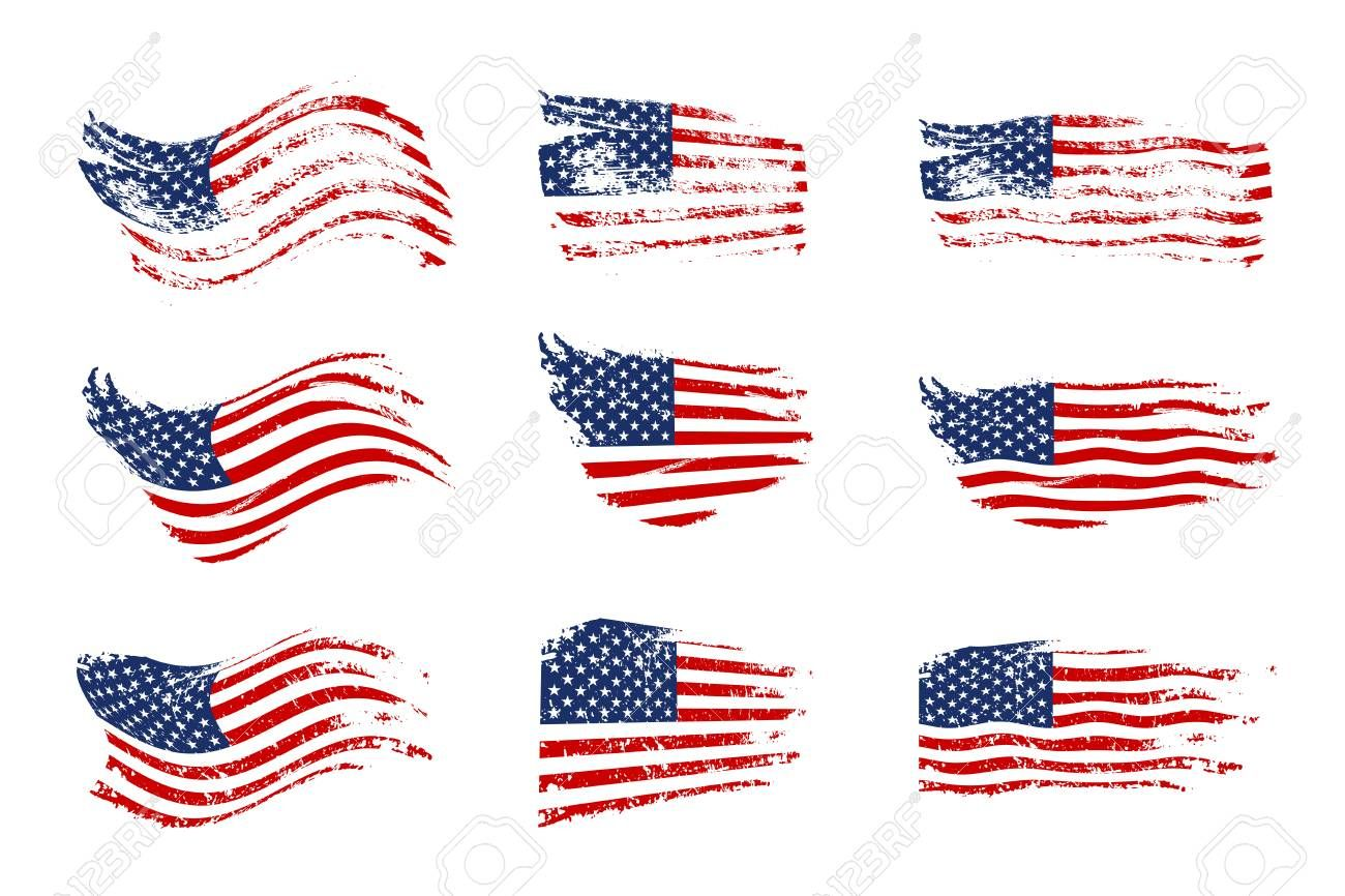Vintage waving USA flag set. Vector waving American flags on.