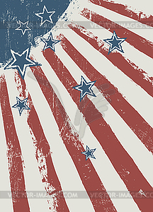 Stars on scratched american flag texture.